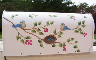 painted mailboxes - hand painted mailbox with sweet little bluebirds and their nest filled with eggs  www.cottageandcabana.com