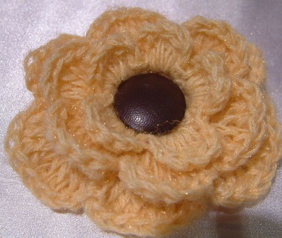 Crochet Flower Pin Brooch Oversized Rose Pin Big by emymade