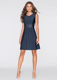 Kleid mit Spitzeneinsatz, BODYFLIRT, dunkelblau
