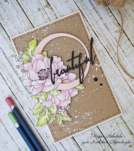 Скрапбукинг, рукоделие, Цветочные открытки