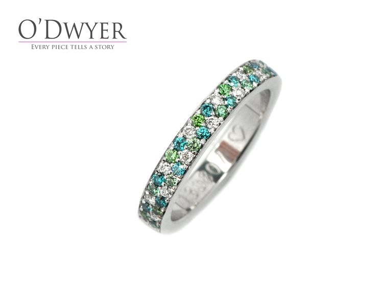 Happy Ring - 18ct white gold ring with blue, green and white diamonds.