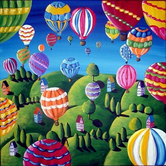 Hot Air Balloons Whimsical Colorful Original Folk Art Painting. $149,00, via Etsy.