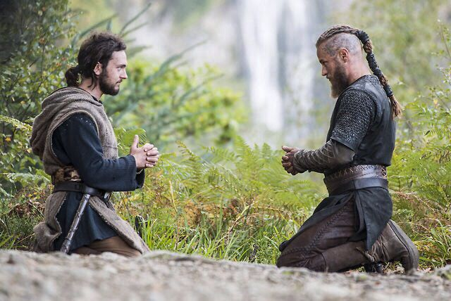 """Athelstan and Ragnar praying """"Our Father"""" together."""