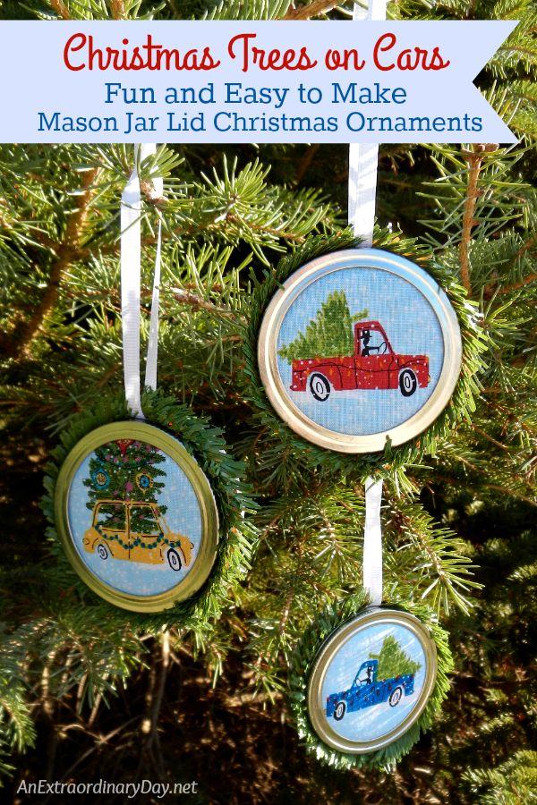 Fun And Easy To Make Mason Jar Lid Christmas Ornaments
