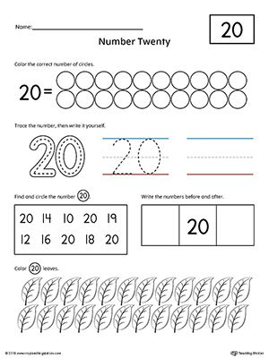 Number 20 Practice Worksheet Worksheet.Help your child practice counting, identifying, tracing, and writing number 1 with this printable worksheet.