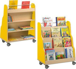 Mueble piramide expositor de libros con ruedas lateral a aprox. 1,20 cm