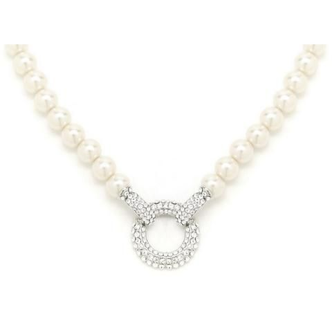 Alana Pearl Necklace with Crystal Hoop