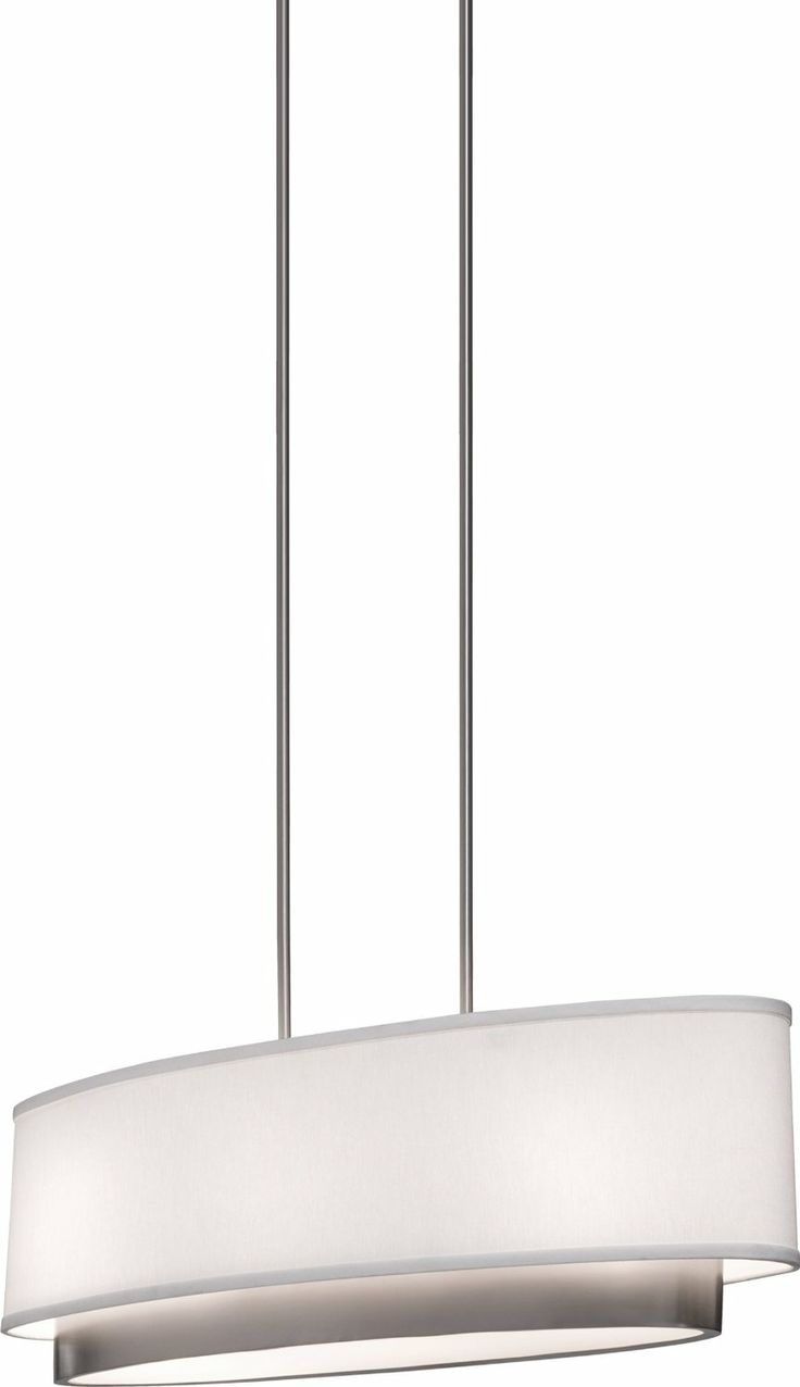 Artcraft Lighting SC784 Scandia Oval Chandelier Brushed Nickel With White Linen Shade