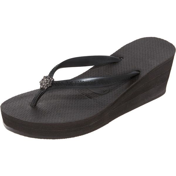 Havaianas High Fashion Poem Wedge Sandals (2,770 INR) ❤ liked on Polyvore featuring shoes, sandals, platform shoes, rubber platform sandals, rubber sandals, wedge heel sandals and platform wedge sandals