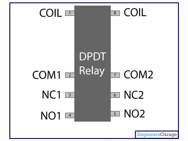 DPDT | Double Pole Double Throw Relay pin diagram | Electronics ...