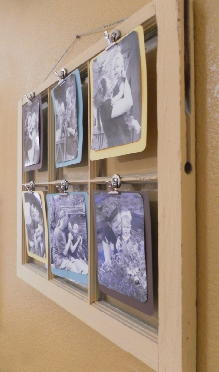 old window display with clips to change out photos, ideas for Candice