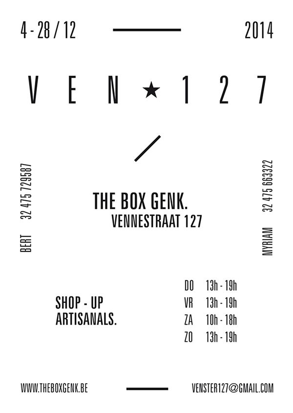 VEN Ster 127 on Behance by Federica Rossi / Graphic Design Poster Black and White - Minimal Typo