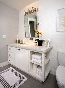 Counter Height Vanity : Counter height shelves beside vanity.