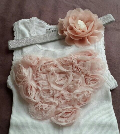 Shabby Pale Pink Heart Tank Top with matching Pale Pink Headband