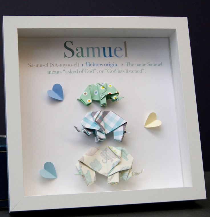 Personalized Name Origin And Meaning Paper Origami Elephants Shadowbox  Frame Custom Art Newborn Baby Shower Nursery Gift