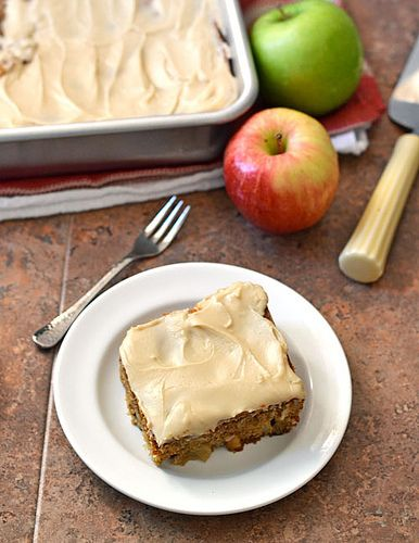 Fresh Apple Cake with Brown Sugar Frosting. Made with whole wheat flour and apple cider.