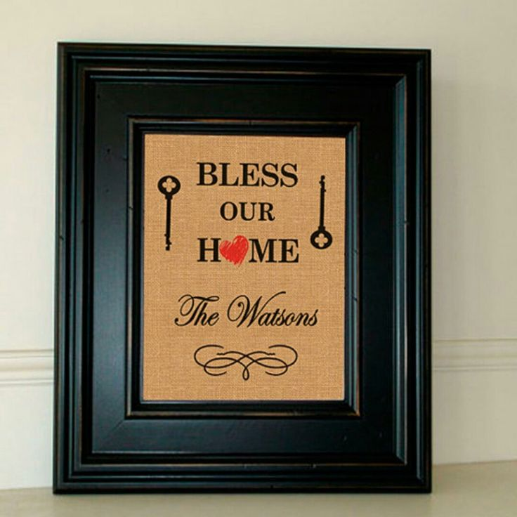 Bless our Home Family Print on Burlap or White Cotton