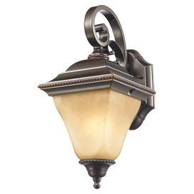 """Welcome guests at the front door or illuminate your three-season porch with this elegant cast aluminum wall lantern, featuring scrolling accents and frosted shade.  Product: Set of 2 wall lanternsConstruction Material: Cast aluminum and glassColor: Dark bronzeFeatures:  Mediterranean styleSuitable for indoor or outdoor useAccommodates: (1) 60 Watt incandescent A bulb - not includedDimensions: 14.5"""" H x 6.75"""" W x 8.6"""" D"""