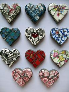 Mosaic hearts from broken china