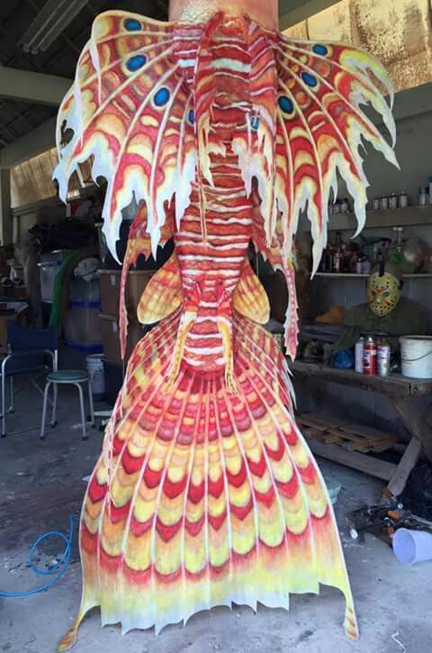 Full Silicone Lionfish Merman Tail by Moo Prosthetics.