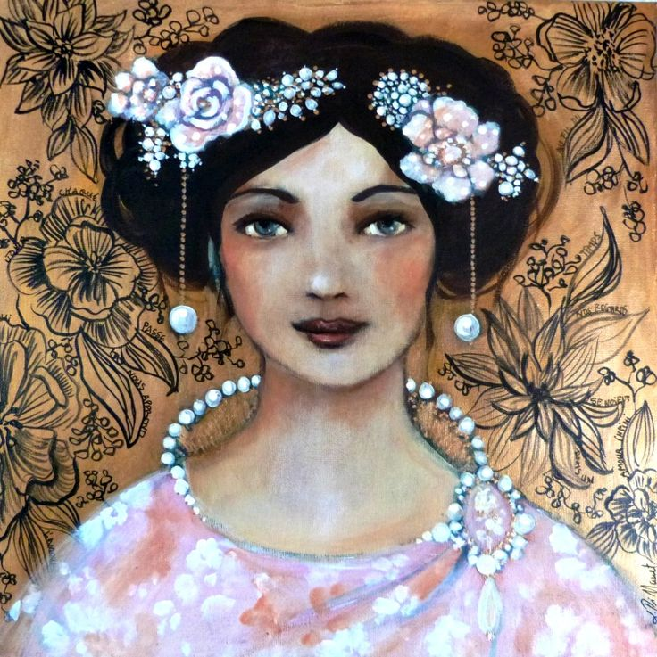 L'or de Solène acrylic on canvas 40x40cm  Woman portrait golden background floral design painting by Loetitia Pillault