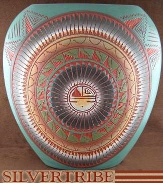 Native American Pottery - Hand Crafted Sun Pot by Navajo Artist V. King KS53531