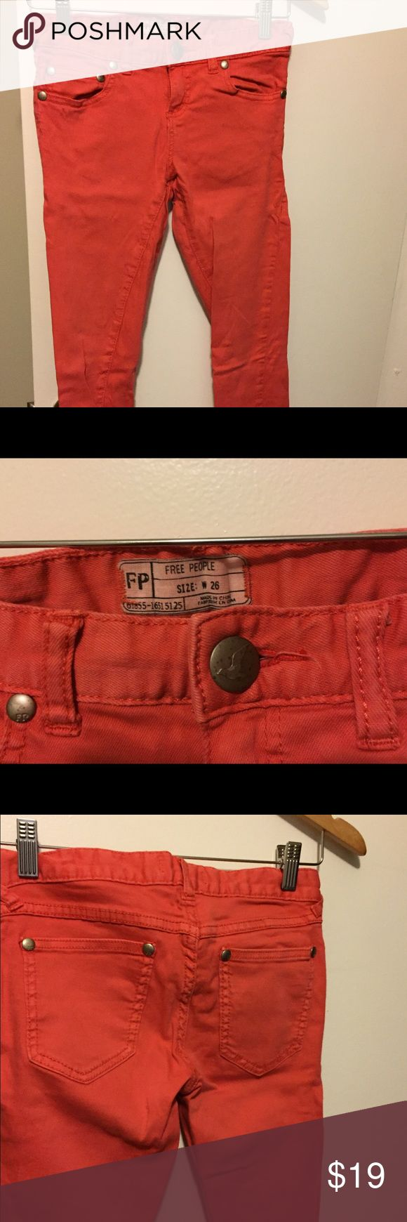 Free people coral jeans size 26 Worn once! Beautiful coral color Free People skinny jeans. Soft and comfortable! Free People Jeans Skinny