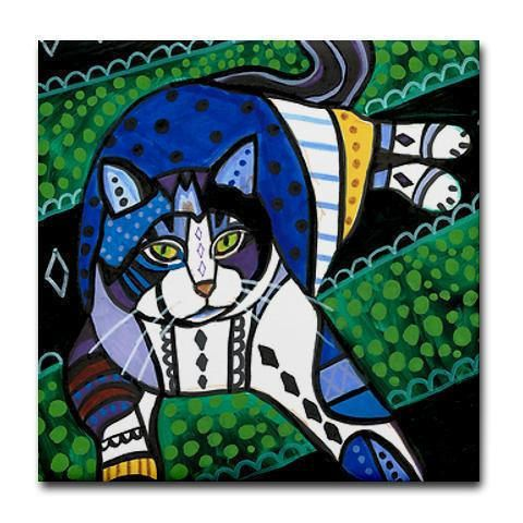 50% off - Cat Folk art Tile Ceramic Coaster Mexican Folk Art Print of painting by Heather Galler