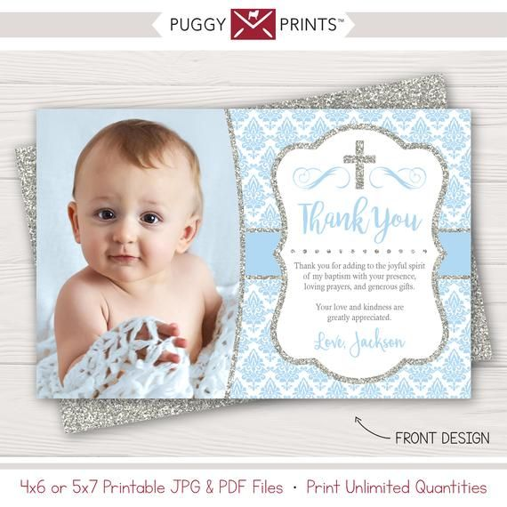 Boy Baptism Thank You Card In Baby Blue And Silver Etsy Baptism Thank You Cards Christening Thank You Cards Christening Baptism Boy