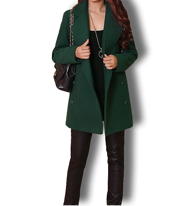 Images of Womens Green Wool Coat - Reikian