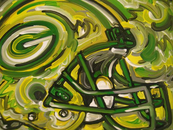 Green Bay Packers Painting by Justin Patten Sports by stormstriker, $110.00