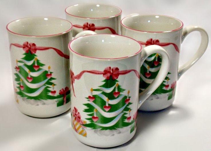 Sango Home for Christmas 4 Pc Holiday Mug Set Indonesia Christmas Tree Motif NIB #SangoIndonesia