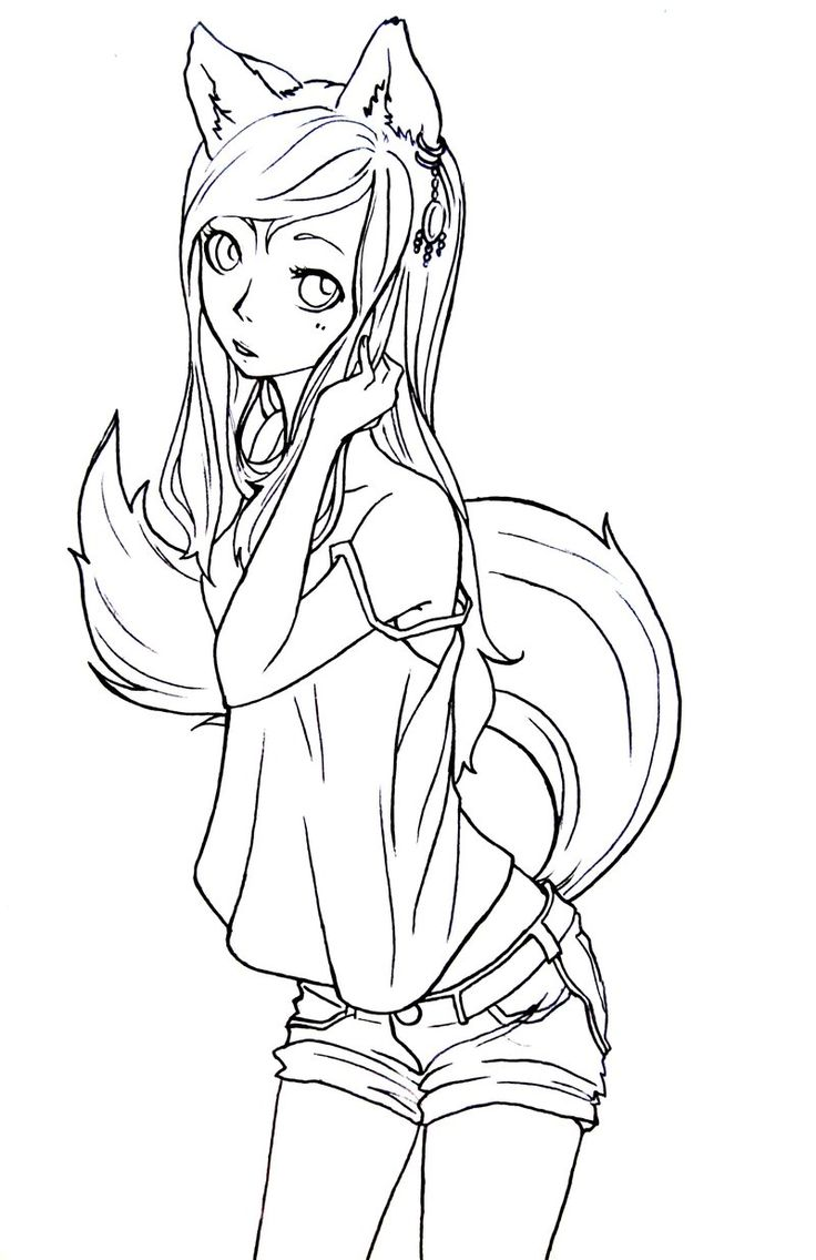 Fox Girl Lineart By Komorinight Deviantart Com Lineart Anime Fox Coloring Pages