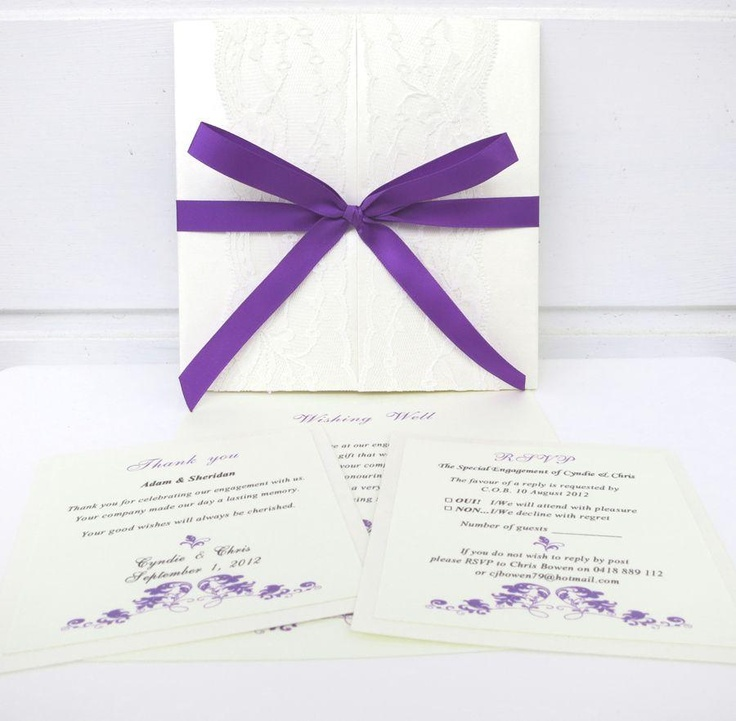 Annie purple invitation - Handmade Wedding Invitations & Luxury Wedding Stationery