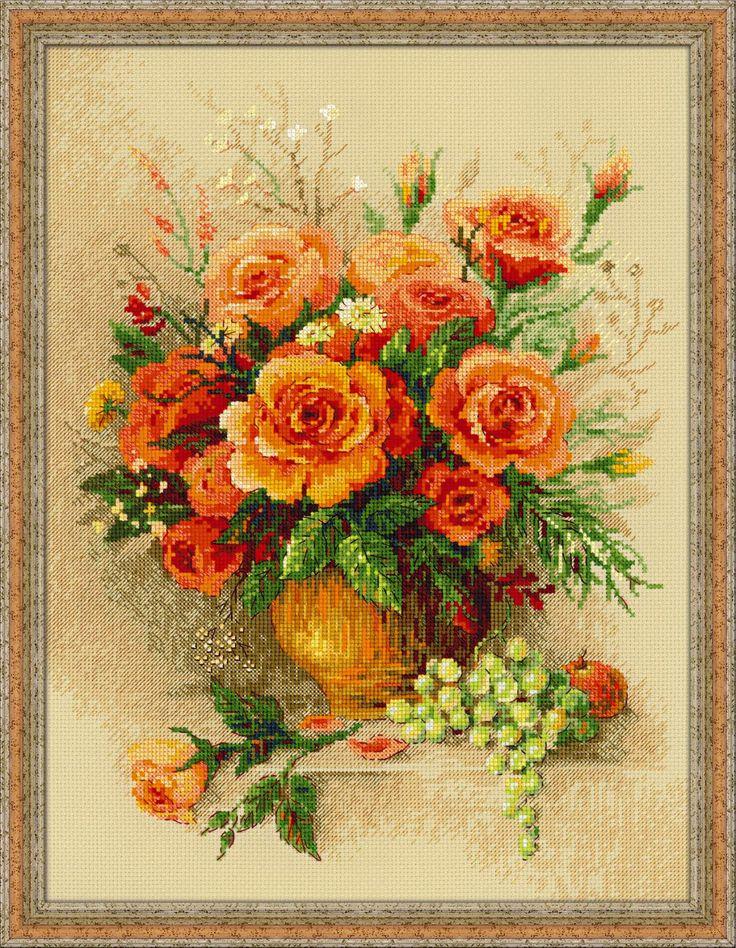100/049 Чайные розы  #riolis #xstitch #cross #stitch #риолис #вышивкакрестом #розы