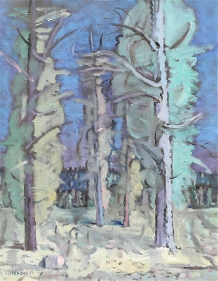 Stanley Cosgrove Trees Dimensions:  32.25 X 25.25 in (81.92 X 64.14 cm) Medium:  oil on canvas Creation Date:  1967 Signed
