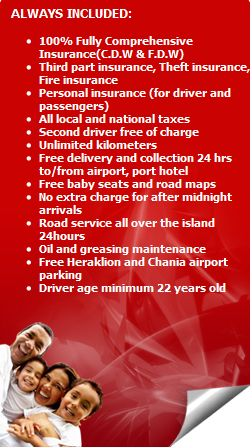 Conditions of  Mustang car rental policy Crete.What is always included when you car hire from Mustang.