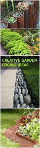 Creative Lawn and Garden Edging Ideas ~ My Fav is the grey, sideways rock edge!