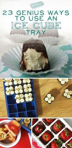 1. Make chocolate-covered cheesecake bites.   2. Freeze your herbs in olive oil so they don't go to waste.   3. Make coffee ice cubes for your iced coffee.   4. Make chocolate-covered strawberries.   5. Freeze baby food for future use.   6. Pretend you're a master sushi roller by using the ice cube tray as a mold.   7. Freeze homemade tomato sauce.   8. Make thick smoothies out of frozen yogurt and bananas.   9. Make jello shots.   10. Freeze buttermilk for future use.