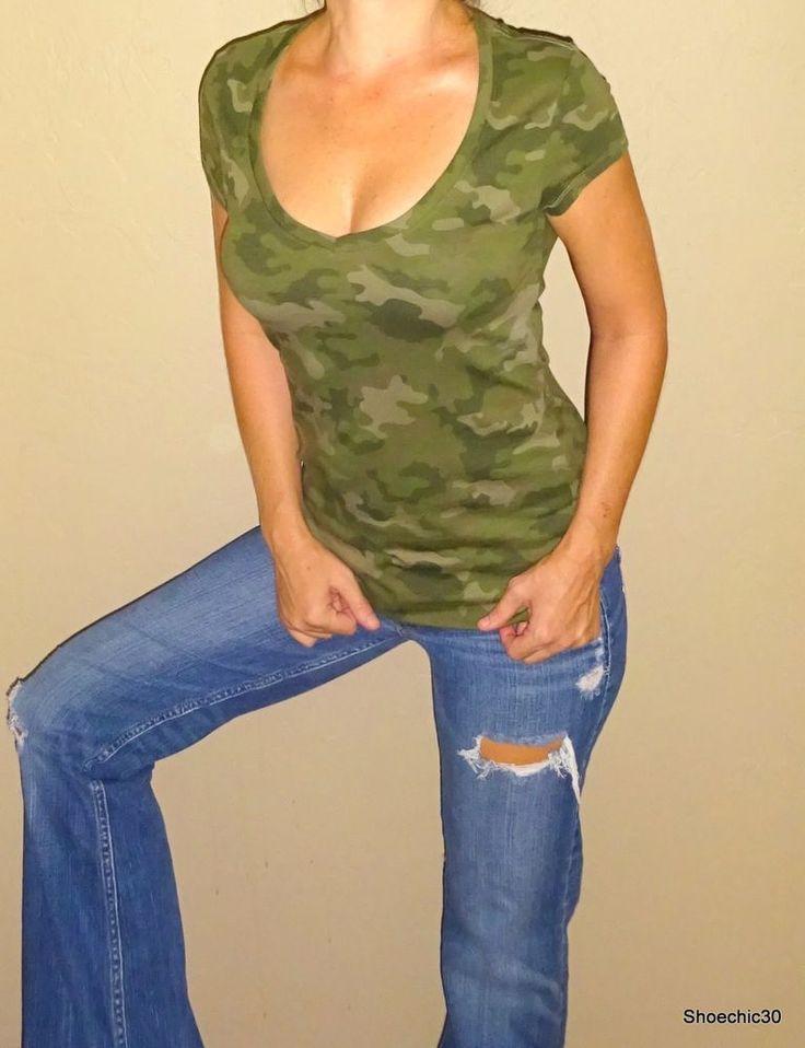 NoBoundries Sexy Camo camouflage army green womans tee tshirt top Vneck Small  #NoBoundaries #Vneck #Casual