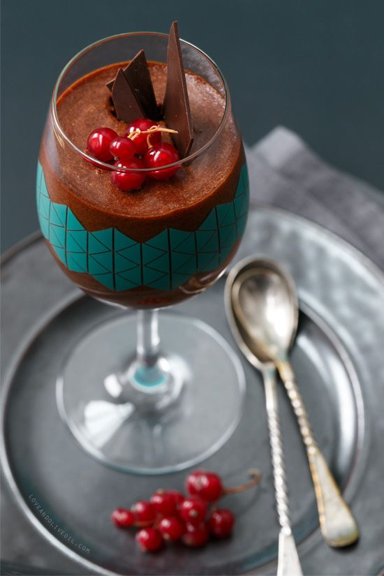 Salted Caramel Chocolate Mousse with Red Currants