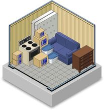 10x10 Storage Unit - Holds furnishings of a one bedroom apartment, including some major appliances.