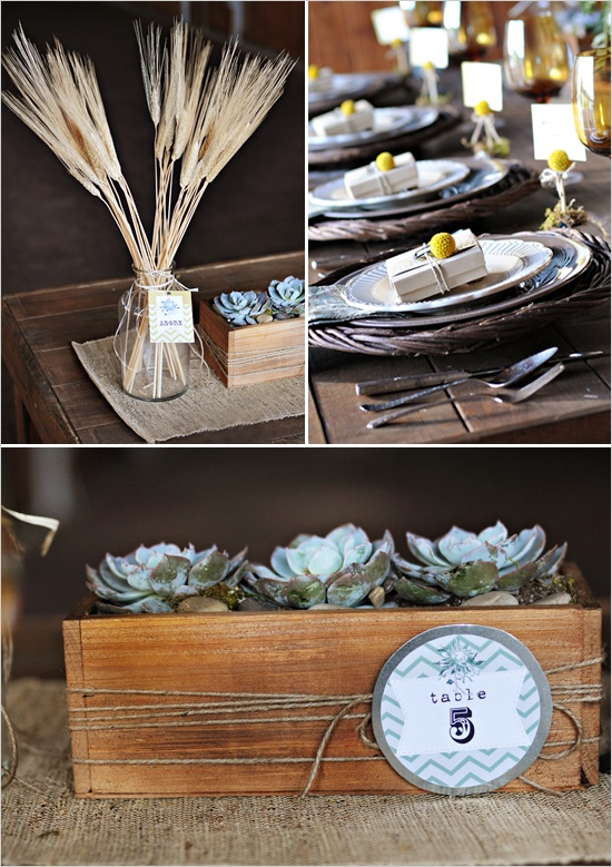 Rustic ideas with white wedding bouquet recipe table
