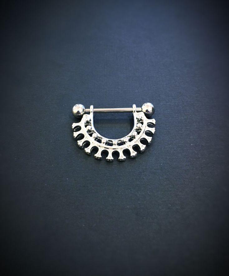 Surgical steel nipple piercing from Angel Body Jewellery.