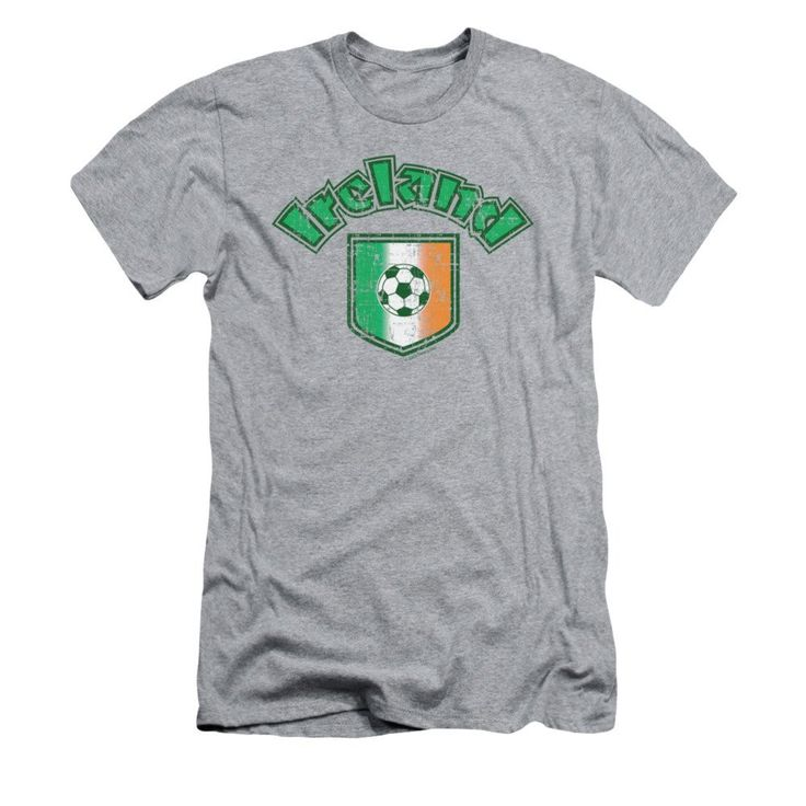 Ireland With Soccer Flag Adult Slim Fit T-Shirt
