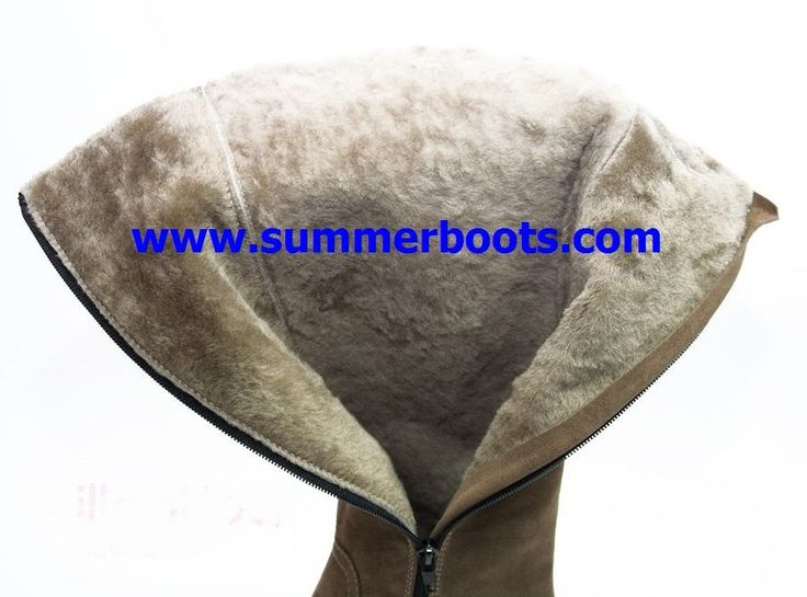 Зимние сапоги с натуральной овчиной с вышивкой светло-коричневые на невысоком каблуке