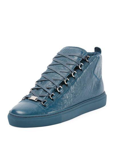 BALENCIAGA MEN'S ARENA LEATHER MID-TOP SNEAKER. #balenciaga #shoes #