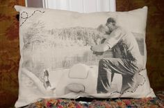 print photo on wax paper and then iron on to fabric. i want to remember this - might be a great christmas gift!