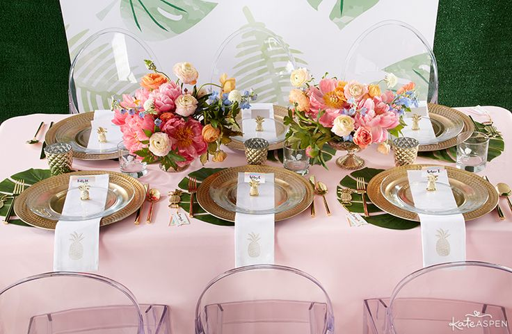 Beautiful Pink, Green and Gold Tablescape  Tropical Wedding Inspiration   Kate Aspen