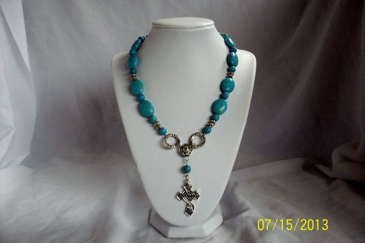 Turquoise Howlite beaded necklace with cross